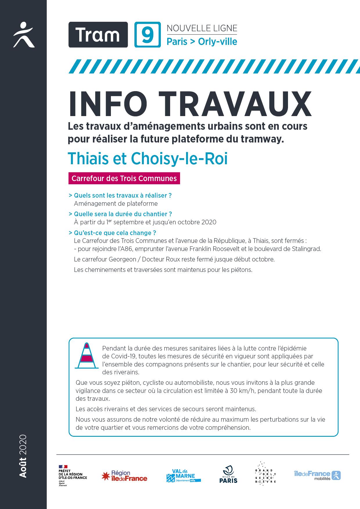 Les travaux à Thiais et à Choisy-le-Roi, septembre 2020