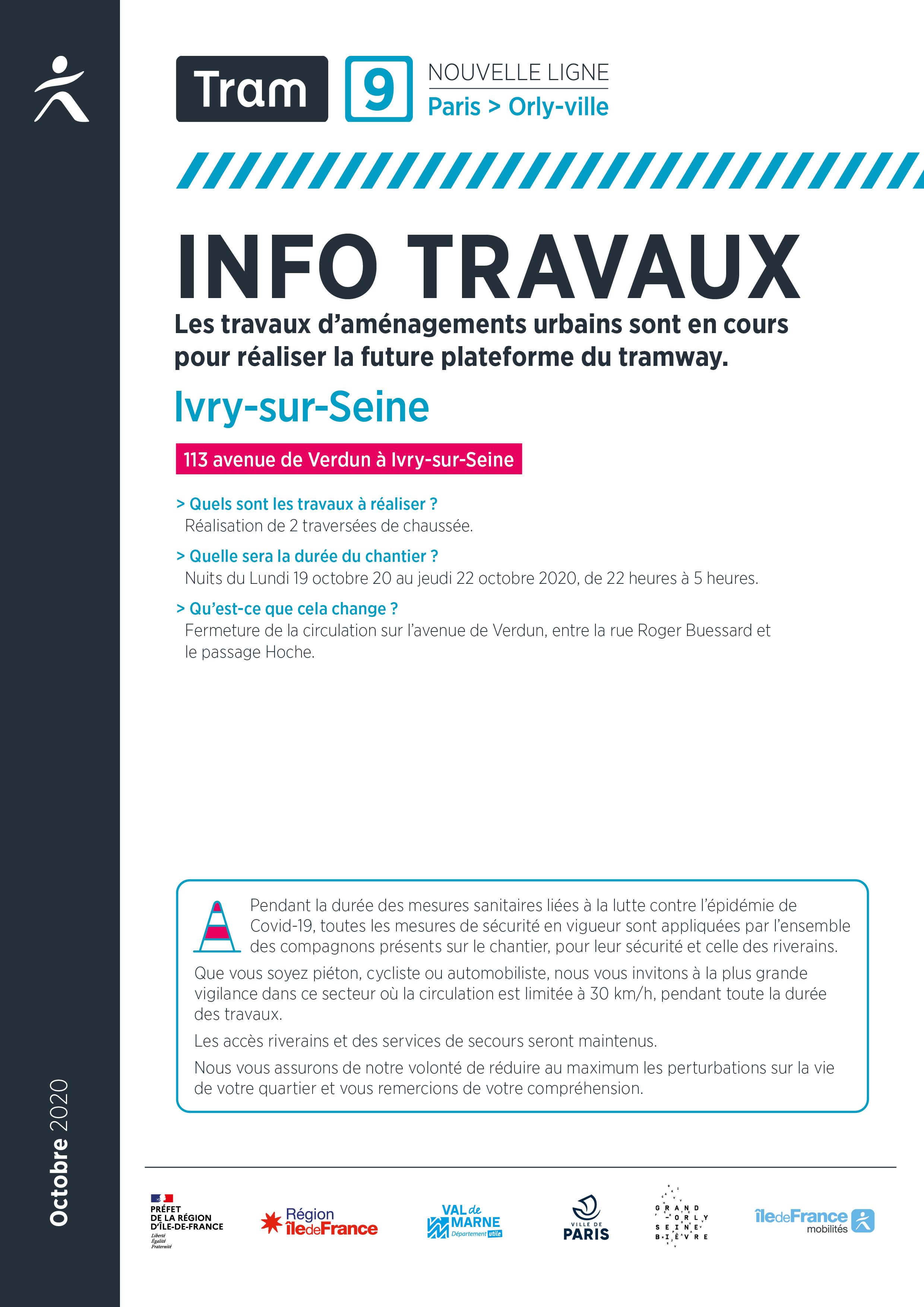 Travaux avenue de Verdun, à Ivry-sur-Seine – octobre 2020