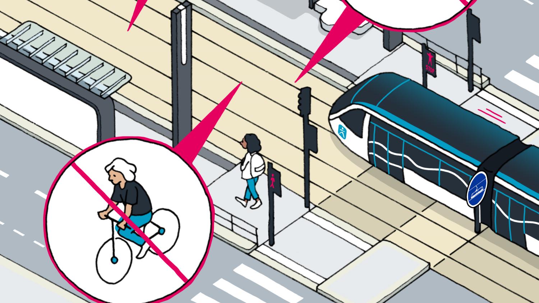 Qui peut circuler sur la plateforme du tramway ?