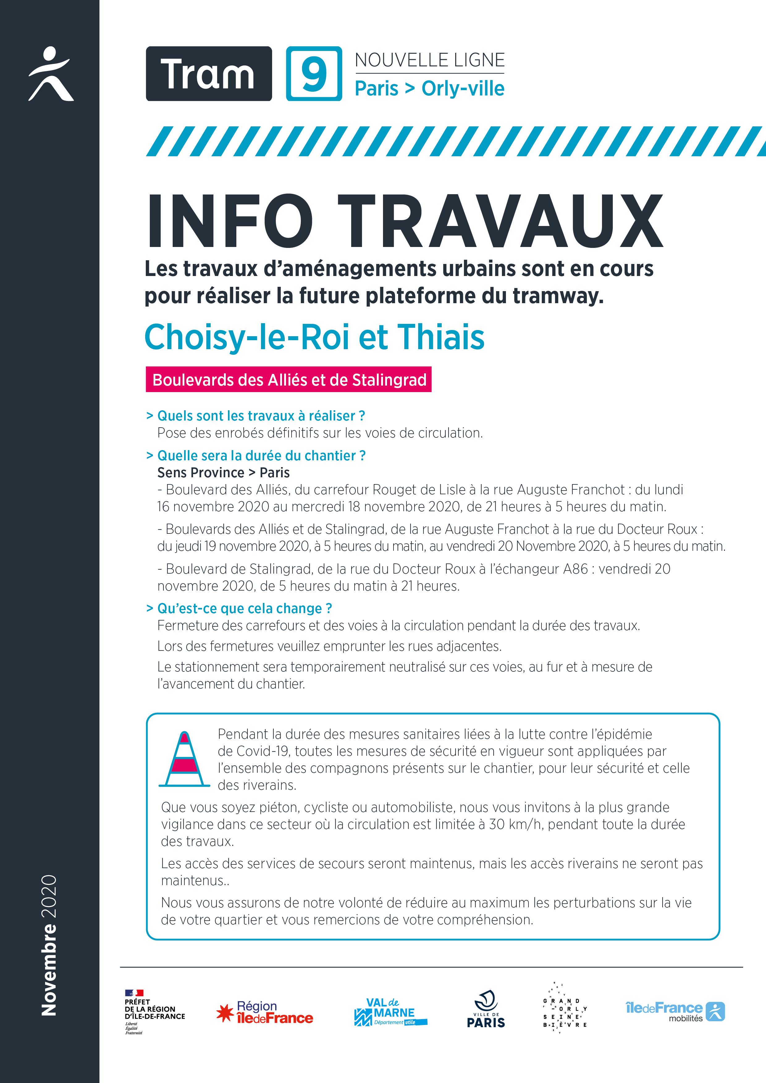 Pose des enrobés définitifs, à Thiais et à Choisy-le-Roi, novembre 2020