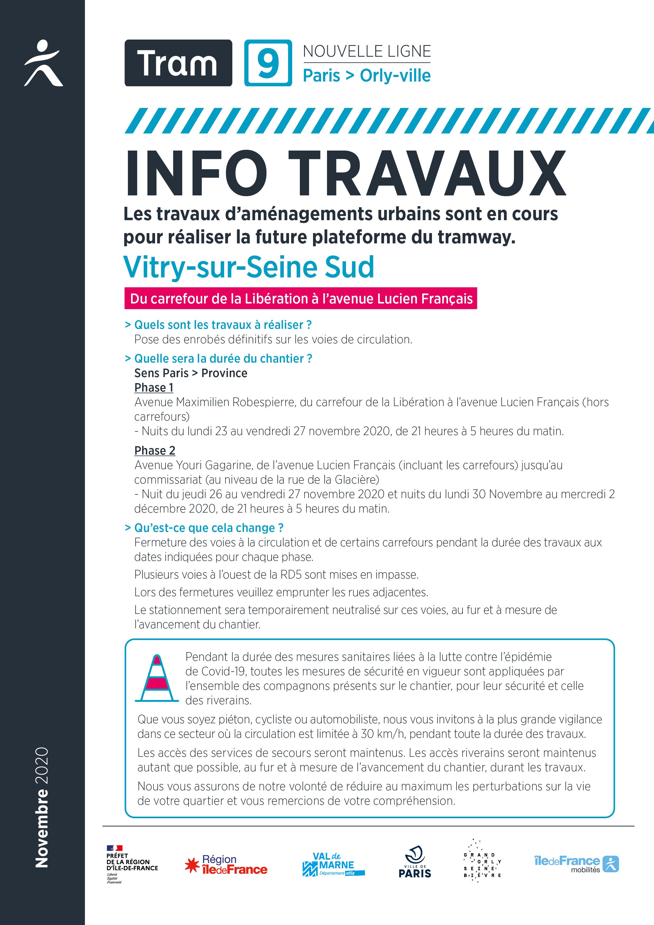 Travaux avenues Robespierre et Gagarine, à Ivry-sur-Seine, novembre 2020