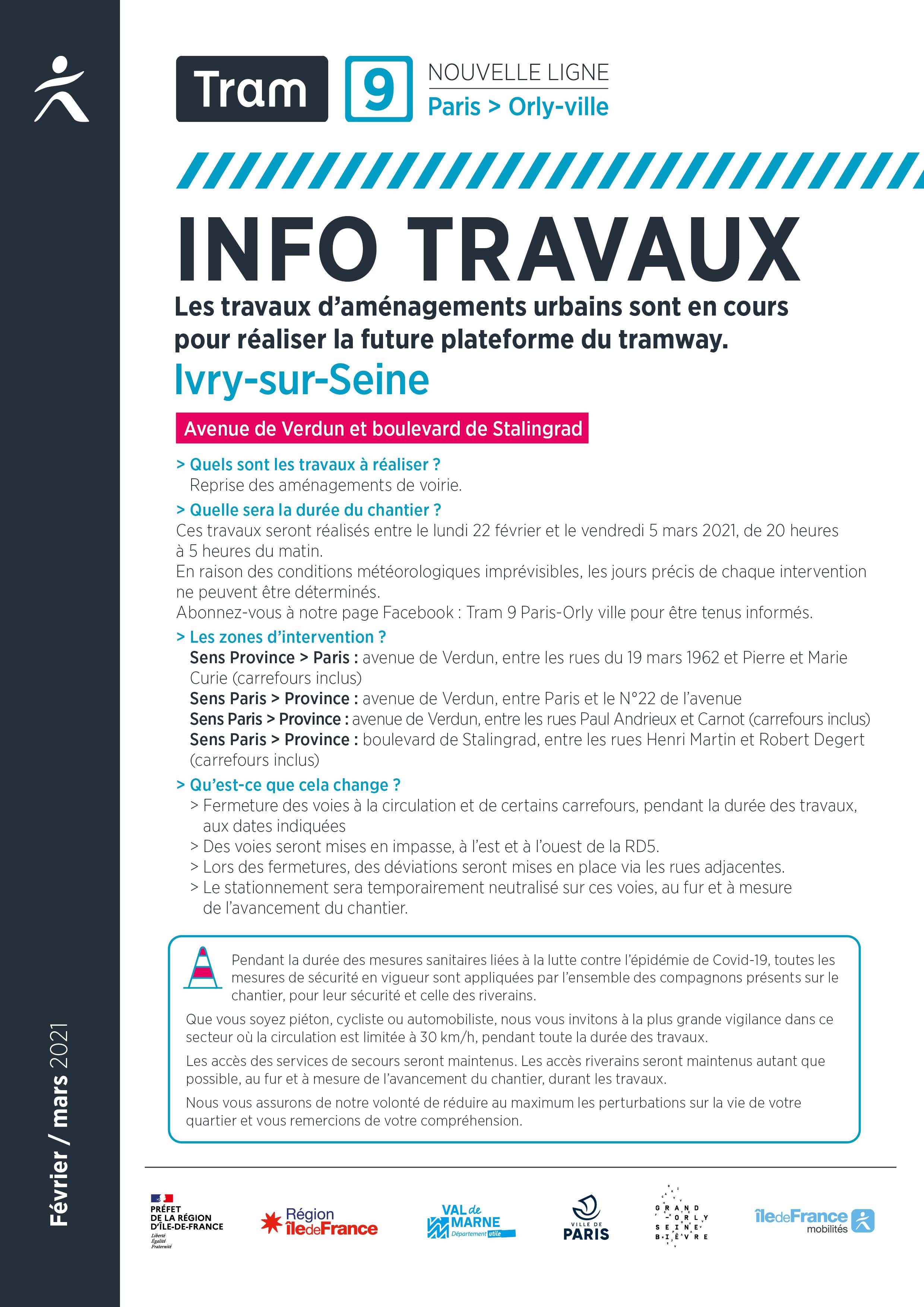 Travaux à Ivry-sur-Seine, février / mars 2021