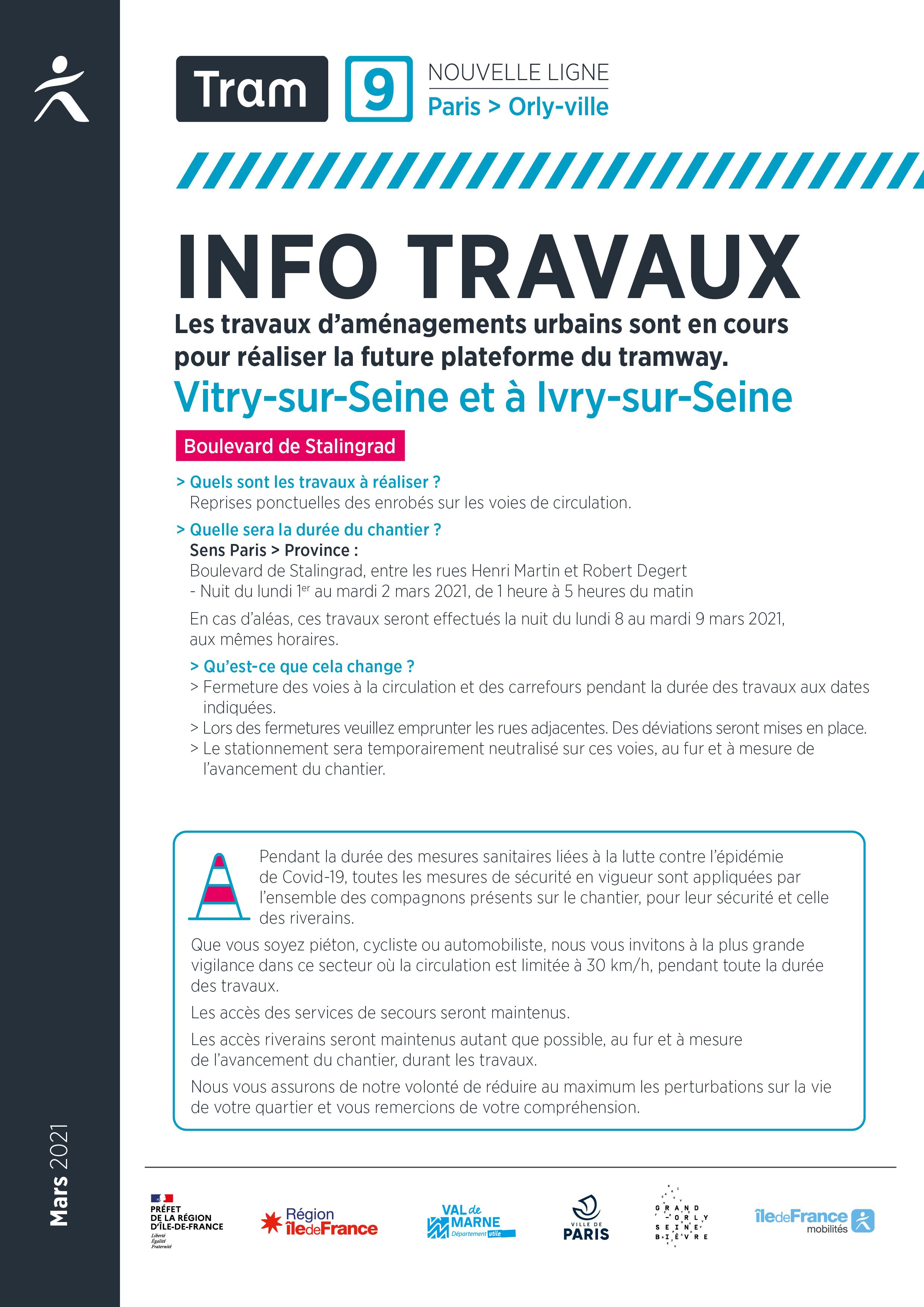 Travaux à Vitry-sur-Seine et à Ivry-sur-Seine, mars 2021